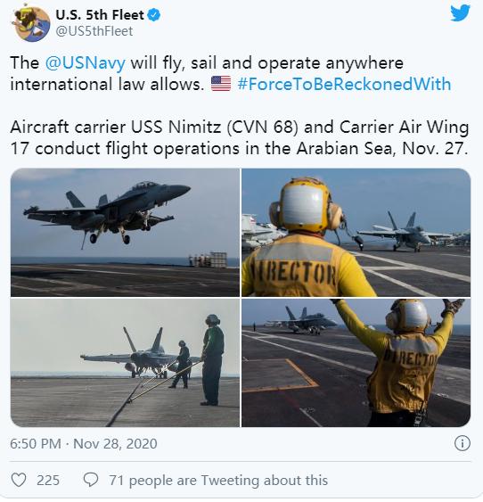 """美国海军第五舰队确认""""尼米兹""""号航母前往中东 图源:社交媒体"""