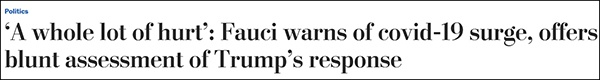 """""""福奇警告新冠疫情激添"""",10月30日《华盛顿邮报》采访福奇"""