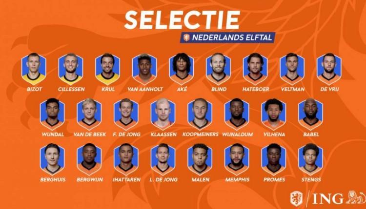 荷兰最新名单:德佩、巴贝尔领衔,斯特鲁曼落选