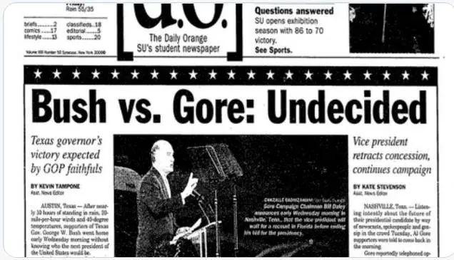 ▲2000年幼布什诉戈尔案报纸。推特截图