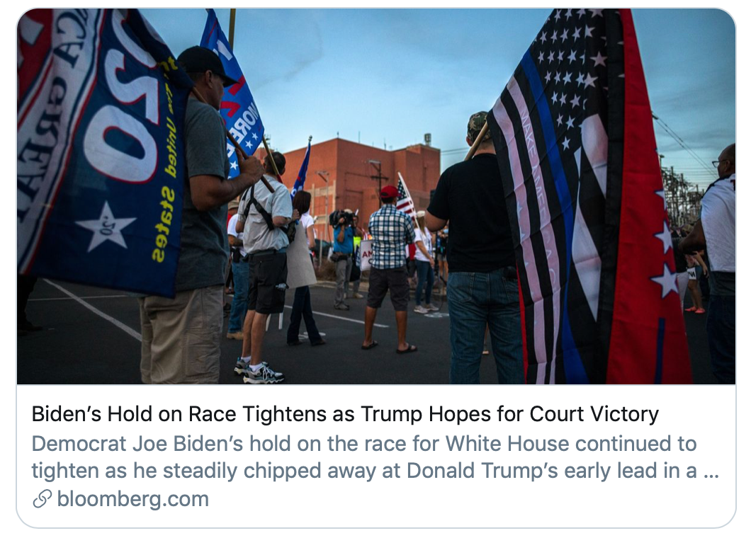 ▲特朗普期待赢得法院里的胜利。彭博社报道截图