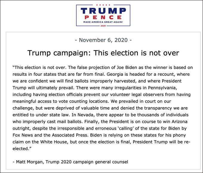 特朗普竞选团队声明 图自外交网站