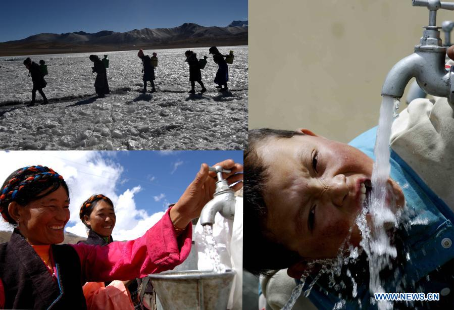 In this combo photo, the upper left part shows residents breaking surface ice for water in a lake in Nagarze County, Shannan Prefecture of southwest China's Tibet Autonomous Region; the lower left part shows famers in Gonggar County of Shannan Prefecture using clean tap water; the right part shows a boy drinking clean water in Sa'gya County, Xigaze Prefecture of the Tibet Autonomous Region. From 2016 to 2020, Tibet Autonomous Region invested 4.3 billion yuan (about 657 million U.S. dollars) in drinking water projects, improving 17,581 rural water projects. Now, clean drinking water has become a reality for around two million residents. (Xinhua)