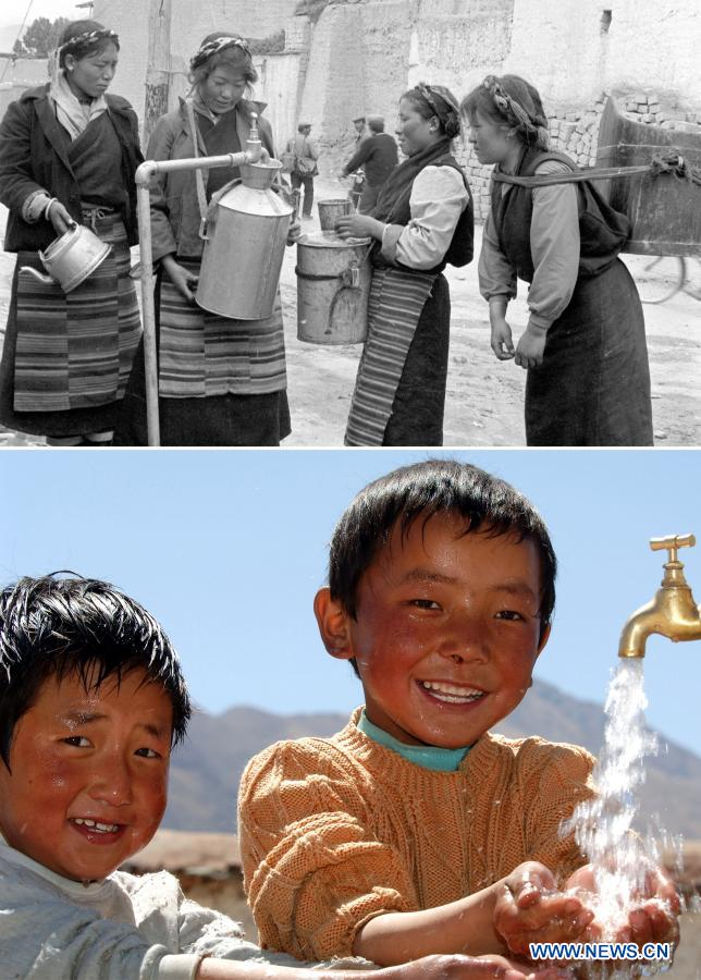 In this combo photo, the upper part shows residents fetching tap water in Gyangze Township of southwest China's Tibet Autonomous Region. Local people used to collect water from sources far away until a small tap water plant was established during the 1980s in the township to provide safe drinking water. The lower part shows children washing up with tap water in Dagze County (now Dagze District) of Lhasa City, capital of the Tibet Autonomous Region. From 2016 to 2020, Tibet Autonomous Region invested 4.3 billion yuan (about 657 million U.S. dollars) in drinking water projects, improving 17,581 rural water projects. Now, clean drinking water has become a reality for around two million residents. (Xinhua)