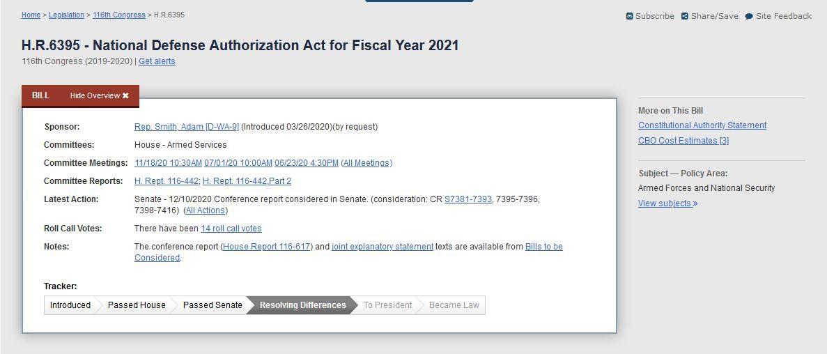 美国国会网站显示,2021财年国防授权法案已在参众两院通过