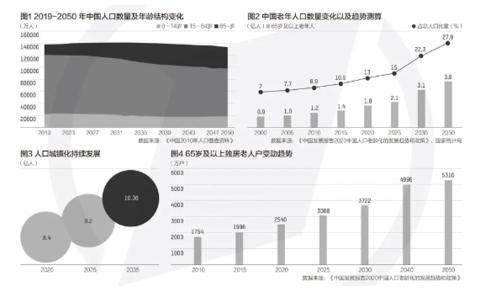 中国人口发展趋势图集(图源:《中国发展通知2020:中国人口老龄化的发展趋势和政策》)