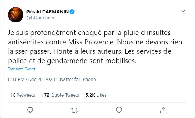 法国内政部长热拉尔德·达尔马宁推特截图