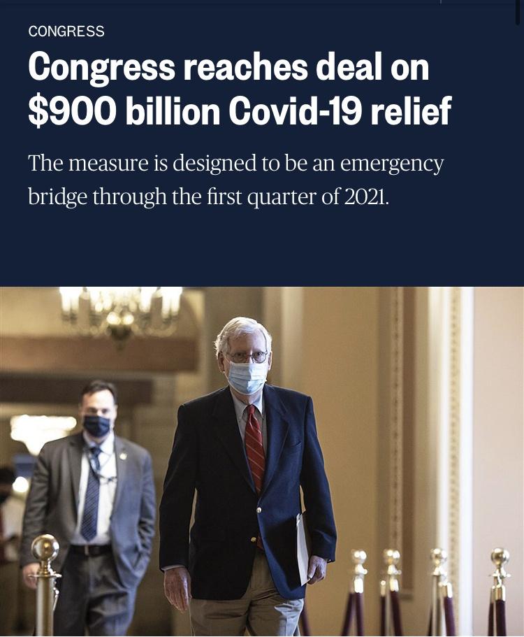 美国就9000亿美元新冠纾困法案达成协议