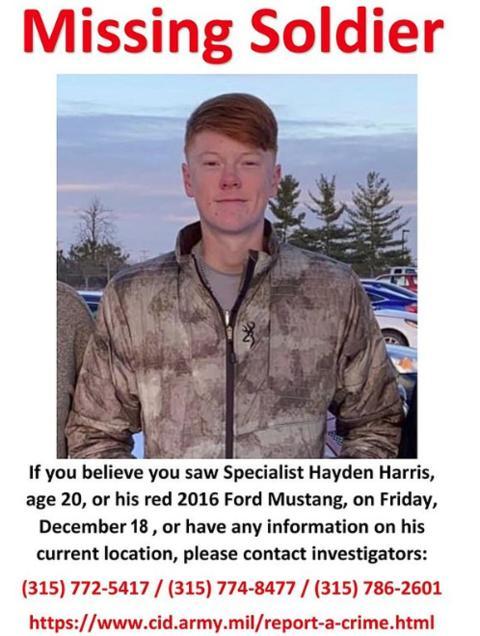 哈里斯失踪后,其地点基地曾发布寻人启示(交际媒体)