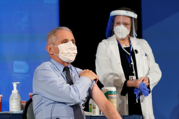 """福奇笑不悦目外示,倘若疫苗顺当分发,明年夏季美国就能够实现""""群体免疫""""。图为福奇22日接栽他的第一剂新冠疫苗。(路透社)"""