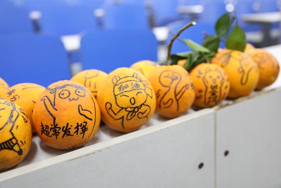 12月17日,湖南永州,湖南科技学院图书馆,画好的表情橙。视觉中国供图