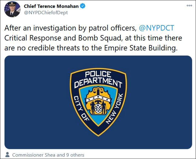 纽约警局总警监莫纳汉发推清亮炸弹事件