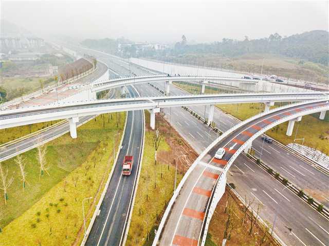 西部(重庆)科学城交通建设又进一步 快速路一纵线青龙咀至农马立交段通车