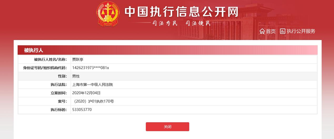 贾跃亭再成被执行人,执行标的5.33亿元