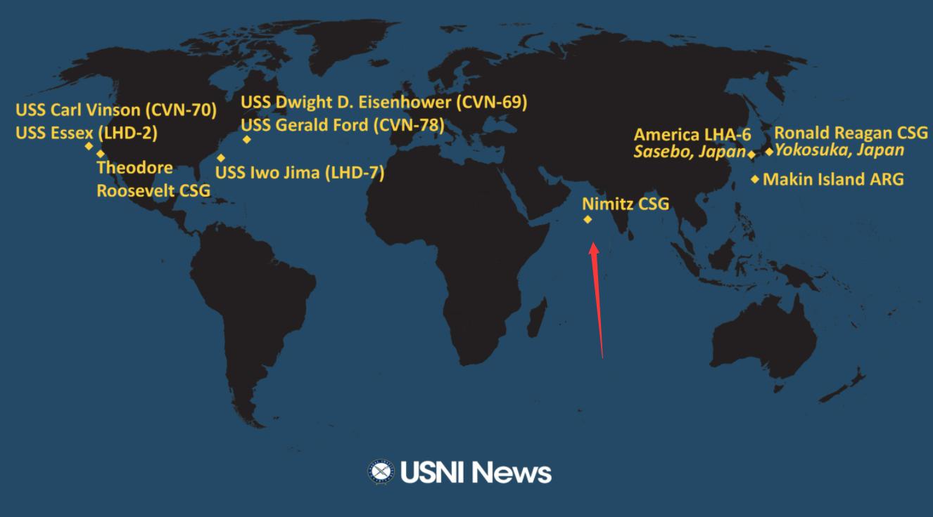 美军罗斯福号航母开赴亚太 曾有1200名水兵感染新冠