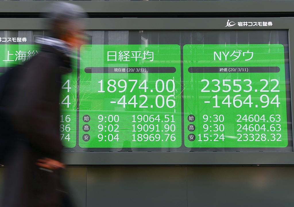当地时间2020年3月12日,日本东京,表现屏表现着当日日本股市数据