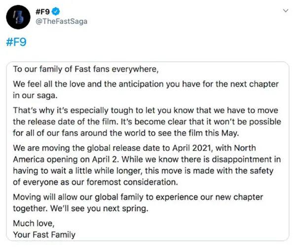 花木兰全球撤档新档期未定 《速度与激情9》宣布推迟上映