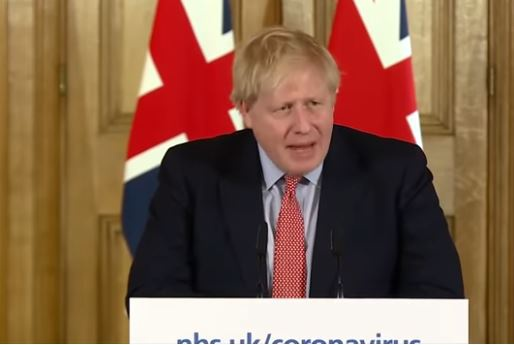British Prime Minister Johnson maps from video screenshot