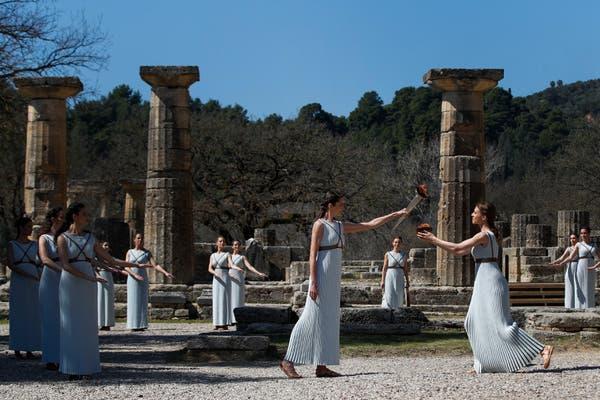 奥运圣火在希腊点燃。