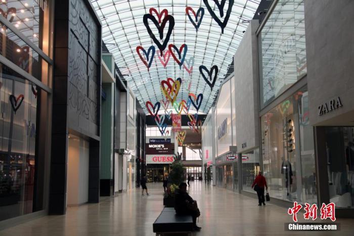 疫情之下,加拿大多伦多大型商场一片冷清。中新社记者 余瑞冬 摄