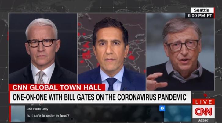 盖茨当晚参加CNN《全球市政厅》节目视频截图
