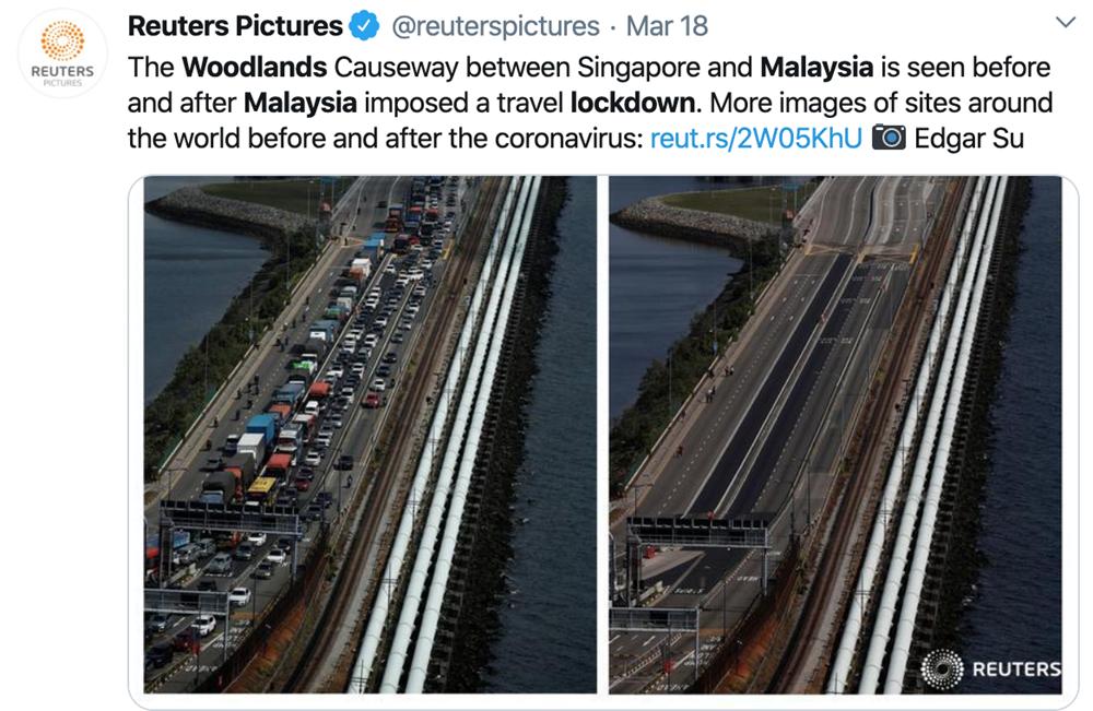 马来西亚边境限制令生效前后的新柔长堤 图片来源:网页截图