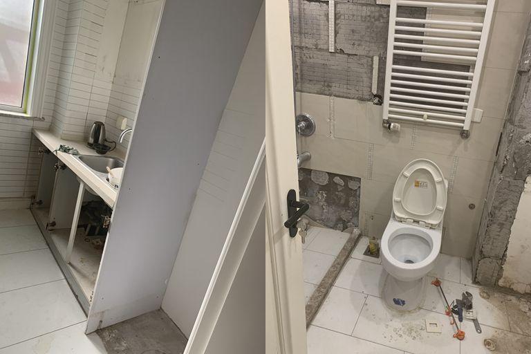 网友陈皮糖家装修未完工的厨房和卫浴间。图/受访者供图