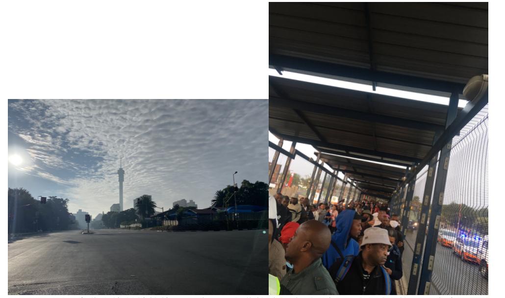 图七和图八。 南非全境封锁的第一天清晨,空荡的城区街道。与之形成对照的,是索韦托黑人聚居区排队等待小巴上班的人群。图片来源:News24, South Africa