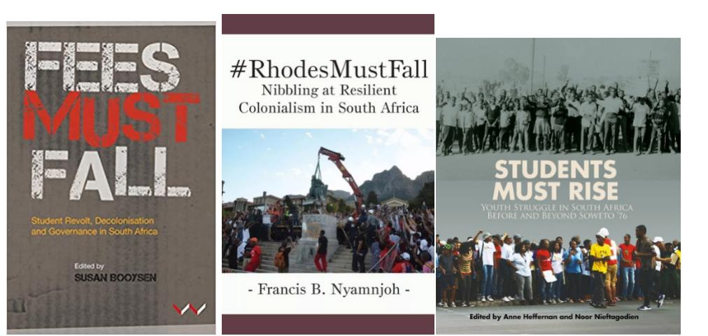 """从2016年开始,学界出版了一系列有关Fallism的书籍,对""""倒下运动""""进行了及时地呼应、总结与反思,这些研究的一个共性,是特别注重挖掘当下时代变迁与代际记忆和南非历史的关联。"""