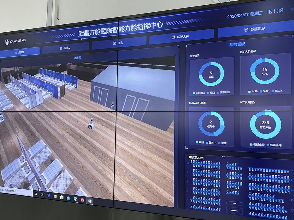 达闼机器人工作人员在大屏幕上,演示武昌方舱医院智能方舱指挥中心机器人工作场景。