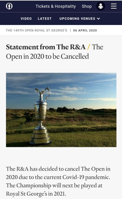 受疫情影响,高尔夫英国公开赛二战后首次取消