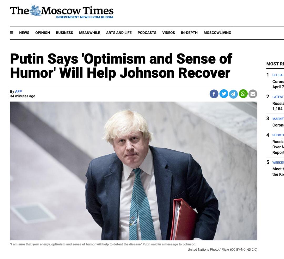 《莫斯科时报》报道截图