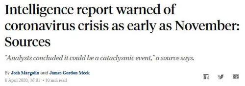 """美国情报部门去年11月就对""""中国疫情""""发出警告"""