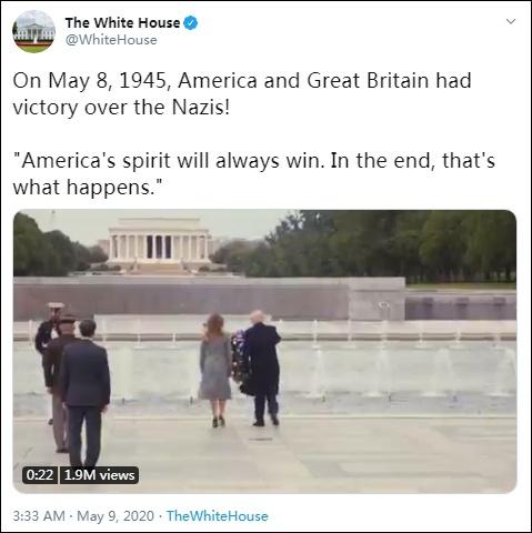 """俄罗斯反对美国白宫的""""美英战胜纳粹""""的说法"""