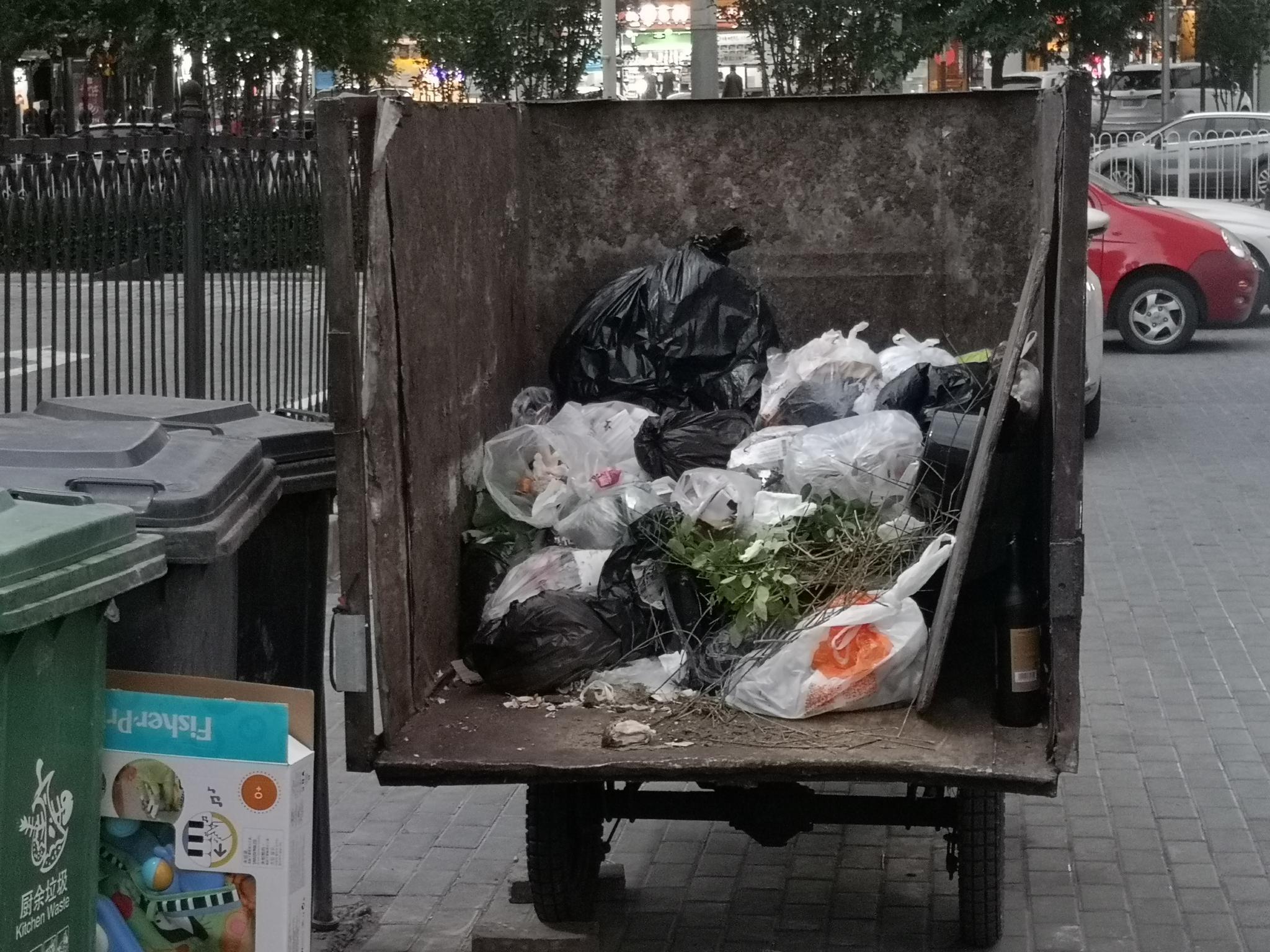 芳星园二区3号楼下的垃圾运输三轮车中,垃圾混投表象清晰。摄影/新京报记者 黄哲程