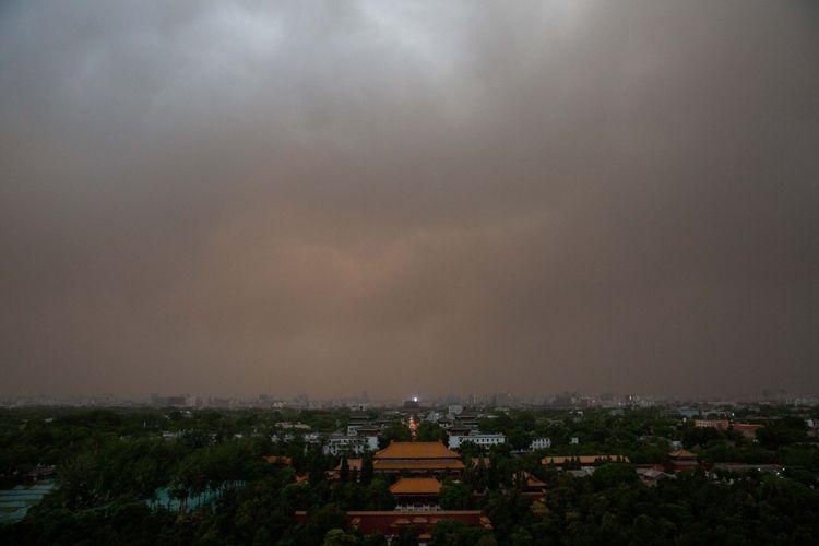 从北向南 多图直击北京沙尘过境全景(组图)