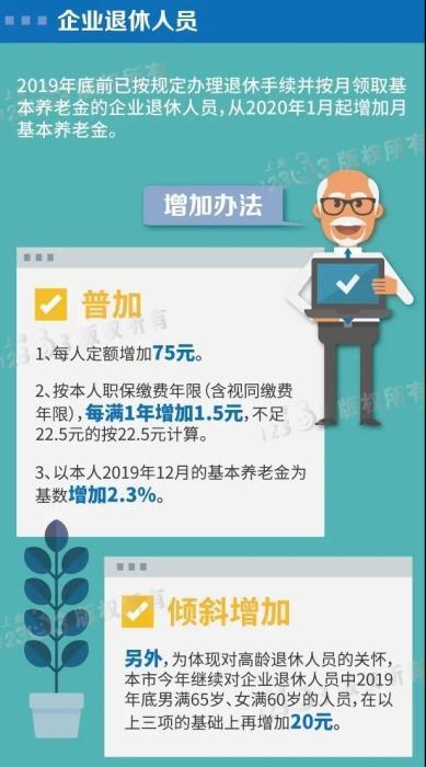 上海2020年养老金调整方案。来自上海人社局
