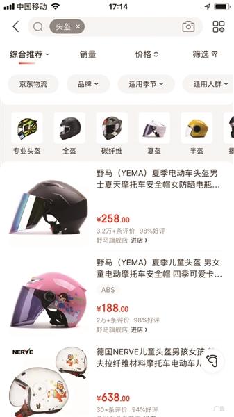 网上头盔的价格。