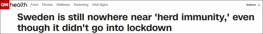"""CNN标题:瑞典距离""""群体免疫""""照样差了十万八千里"""