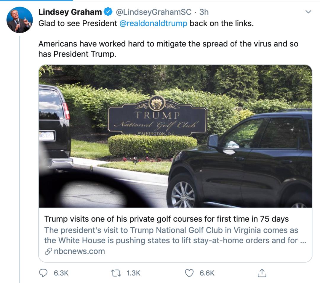 美国死亡数逼近10万 特朗普去打高尔夫了且未戴口罩