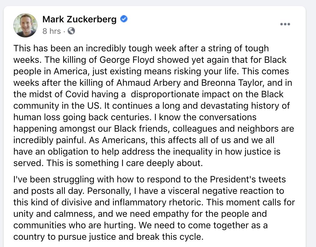 扎克伯格脸书发文外态