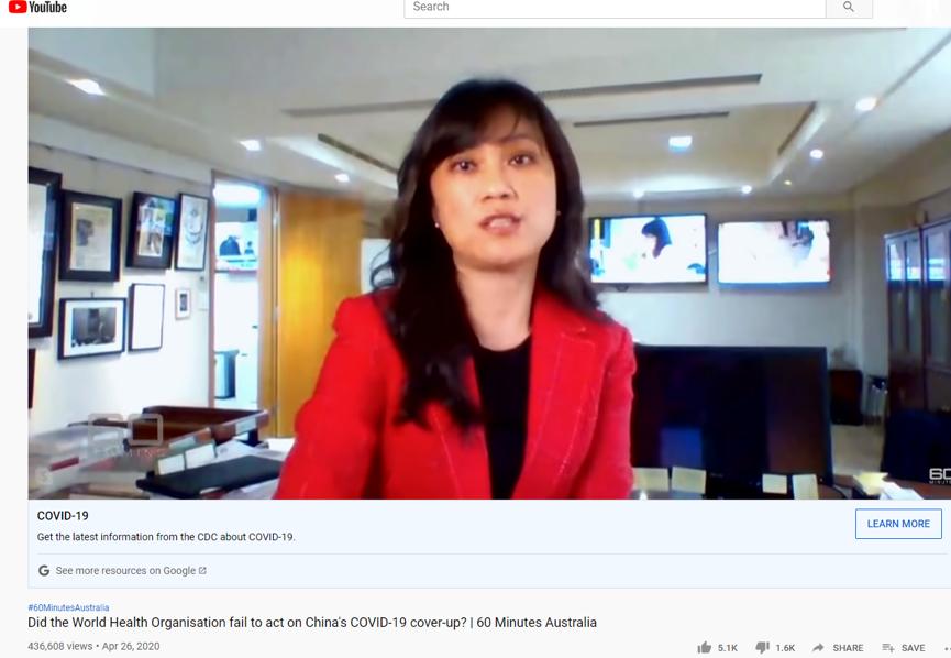 """(图为不久前澳大利亚第九频道旗下的""""60分钟""""栏目在帮台湾当局散布虚假信息,称台湾最先""""警告""""世卫组织)"""