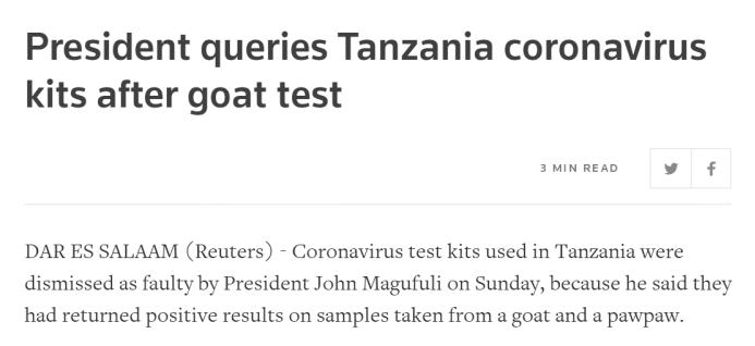 山羊木瓜都测出阳性,总统吐槽…