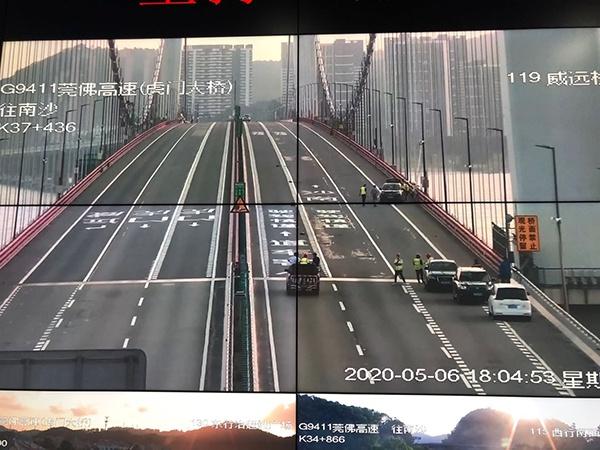 广东虎门大桥有限公司对虎门大桥路面的实时监测画面。澎湃新闻记者 陈绪厚 摄