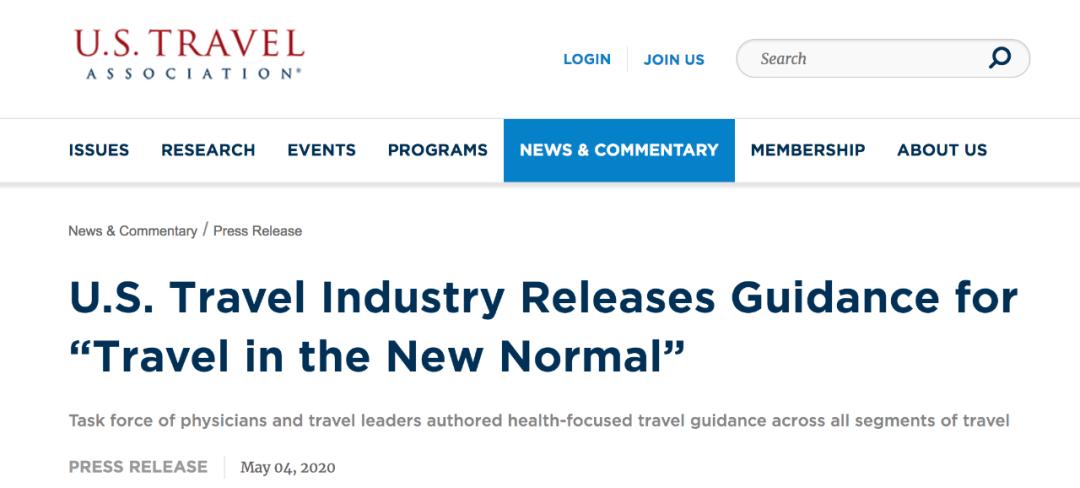 """美国旅游业发布""""新常态旅走""""指南。/美国旅走协会网站截图"""