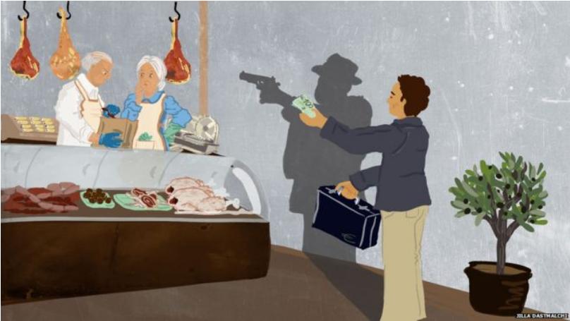 逆映意大利暗手党的漫画,图源:BBC消息