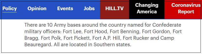 (截图来自美国《国会山报》的报道,该报列出了这10个陷入争议的美军基地的名字)