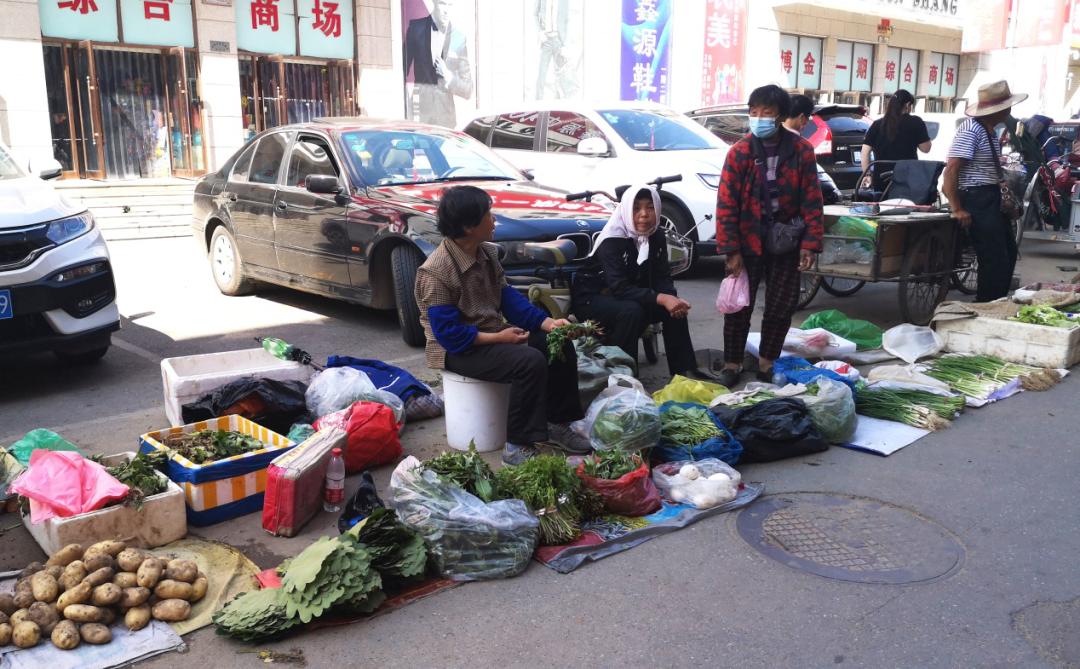 商贸步辇儿街摆摊的农民