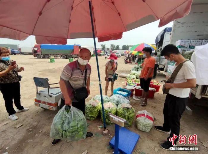 6月16日,北京新发地批发市场休市后,设在京良路北侧一处临时交易周转场内,部分蔬菜、水果商户在此进行交易。中新社记者 张宇 摄