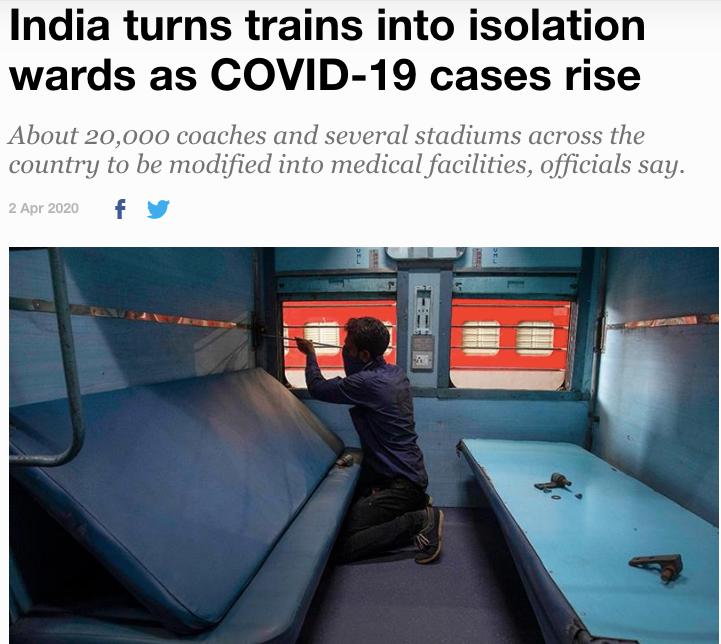 印度将火车车厢改造为隔离病房。/半岛电视台网页截图